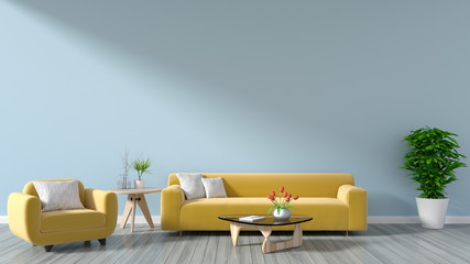 The living room has a sofa yellow , lamps, books and a vase of flowers on the background wall is empty. 3D rendering.