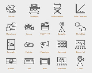 Movie Flat Line Icon Collection. Camera Film, Spotlight, Script, Screenplay, Storyboard, Ticket, Video, Projector, Director Chair, Clapperboard, 3D Cinema