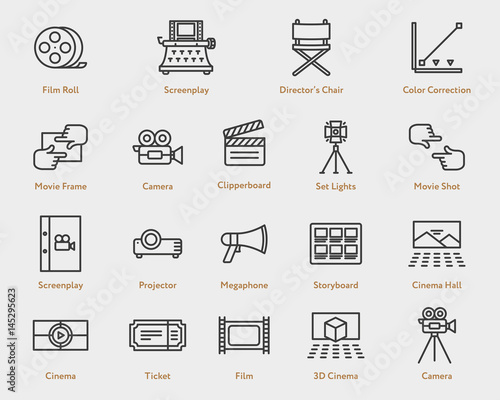 Movie Flat Line Icon Collection Camera Film Spotlight Script
