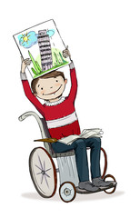 Boy in wheelchair showing the book.  Educational concept