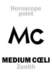 Astrology Alphabet: MEDIUM CŒLI (Zenith), Middle of The Sky, uppermost point of Horoscope. Hieroglyphics character sign (single symbol).
