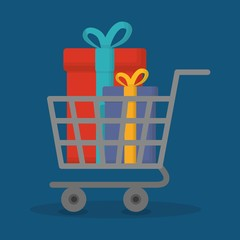 shopping cart with gift boxes icon over blue background. colorful design. vector illustration