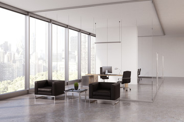 Glass office waiting area, CEO room