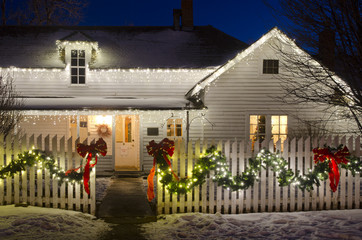 Christmas Lights on a Farm House