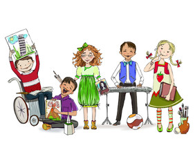 Group of children, including the boy in wheel chair, demonstrating different school activities: playing piano, reading, drawing. Educational concept.