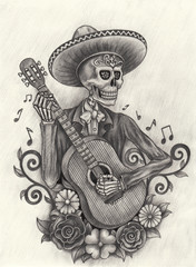 Art skull day of the dead.Hand pencil drawing on paper
