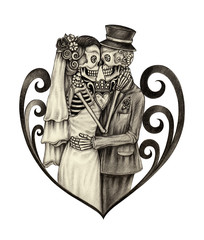 Art wedding skull day of the dead.Hand pencil drawing on paper