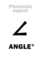 Astrology Alphabet: ANGLE (degree), coordinates in Astrological chart and Horoscope. Hieroglyphics character sign (single symbol).