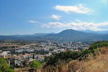 Panoramic view of Agios Nikolaos town from the hill, Greece, Crete island