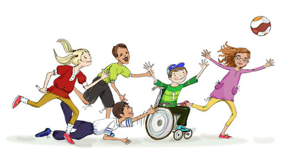 Group of five children including the boy in the wheel chair playing with ball. Team building and educational concept illustration.