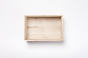 wood gift box isolated white.