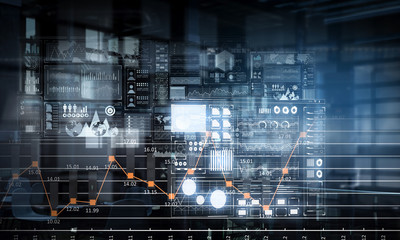 Business digital infographs . Mixed media