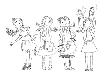 Little girl doodle, paying musical instrument, drawing, running, reading, cooking. School activities, educational concept