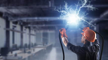 Fixing electricity cut . Mixed media