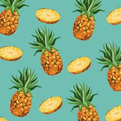 pineapple fruit fresh seamless pattern design vector illustration eps 10