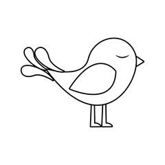 monochrome silhouette with cute bird vector illustration