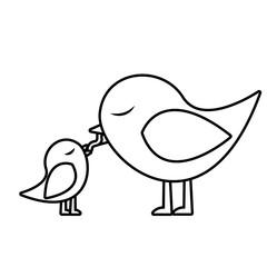 monochrome silhouette of bird feeding a chick vector illustration