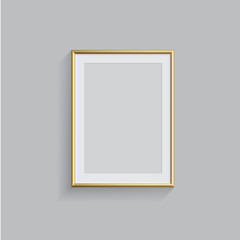 Vector golden picture or photo frame isolated on grey background.