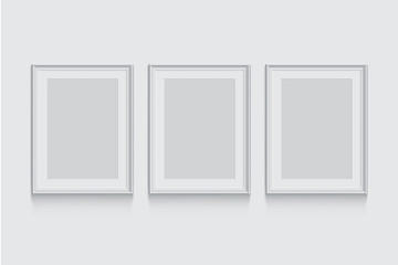 Vector white picture or photo frames isolated on grey background.