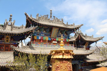 Chinese Monastery Roof Architecture in Qinghai China Asia