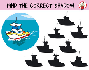 Find the silhouette of the boat. Find the correct shadow. Educational game for children. Cartoon vector illustration