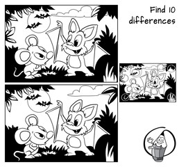 Cute little bat explains to little mouse how to fly. Find 10 differences. Educational game for children. Black and white cartoon vector illustration