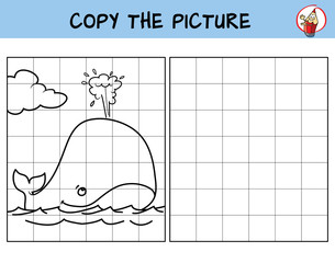 Whale in the ocean. Copy the picture. Coloring book. Educational game for children. Cartoon vector illustration