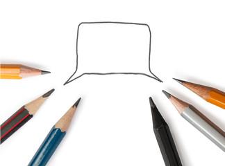 Speech Bubble With Six Pencils Around It