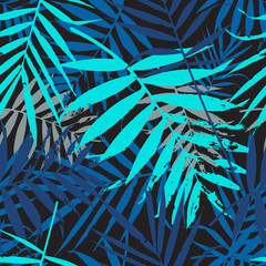 Tropical palm leaves, jungle leaves seamless vector floral pattern. Seamless exotic background with tropical blue leaves. Vector illustration.