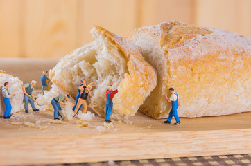 mini figure dolls Baguette bread .