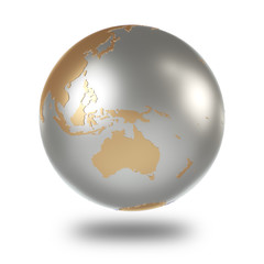 Metal Earth with gold continents on a white background. 3D rendering.