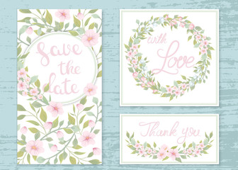 Vector wedding invitations set with the flowers of apple trees. Romantic tender floral design for wedding invitation