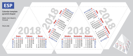 Template spanish calendar 2018 pyramid shaped, vector