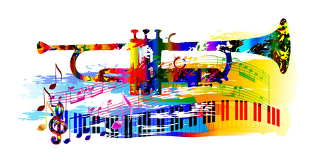 Colorful music background painting with trumpet, piano and musical notes
