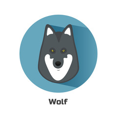 Vector wolf icon. Flat design