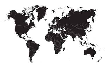 Black world map on a white background. Vector illustration