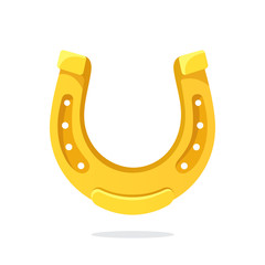Vector illustration in flat style. Golden horseshoe for good luck. Decoration for greeting cards, prints for clothes, posters