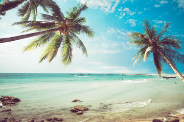 Fototapete - Vintage tropical beach (seascape) with palm tree in summer. Landscape of coast. vintage effect color tone.
