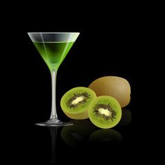 Kiwi juice and fresh kiwi isolated on black background, vector illustration.