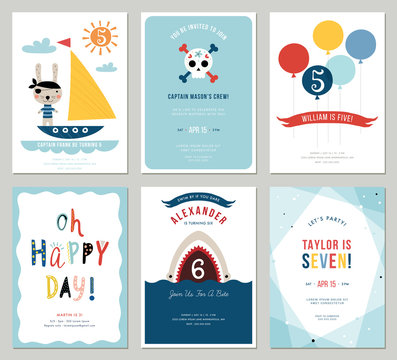 Birthday boy invitation cards set. Colorful balloons, cute rabbit pirate, cartoon shark and decorative skull.