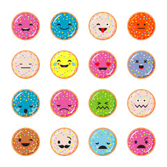 Emotions Donut. Vector style smile icons.