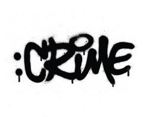 Zelfklevend Fotobehang Graffiti graffiti crime word sprayed in black on white