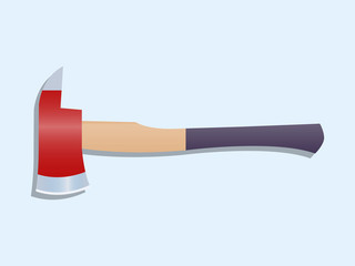 Red firefighter axe icon Vector illustration