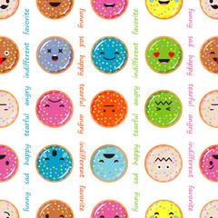 Seamless background with Donut emotions. Vector illustration.