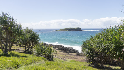 Fingal Head view of Cook Island Australia, New South Wales