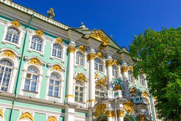 Hermitage palace over blue sky in Saint Petersburg, Russia.