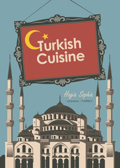 vector banner for a restaurant Turkish cuisine with turkish flag and Mosque Hagia Sophia
