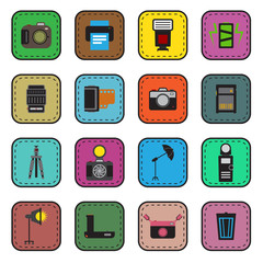 Camera and accessory icon sticker set vector illustration