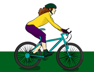 A girl with long hair dressed in a yellow sweater and purple breeches riding a blue bike. Cyclist eps 10 illustration