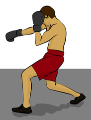 A man in red shorts and gray gloves is boxing eps 10 illustration
